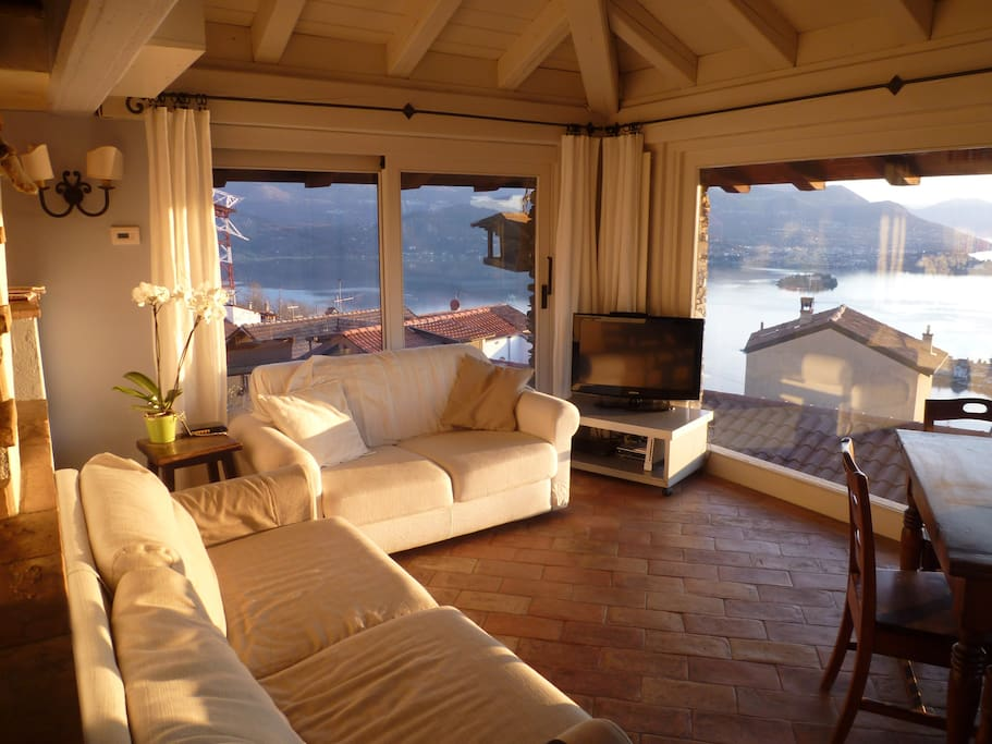 This is the lounge with its massive windows on three sides overlookin the lake and garden.