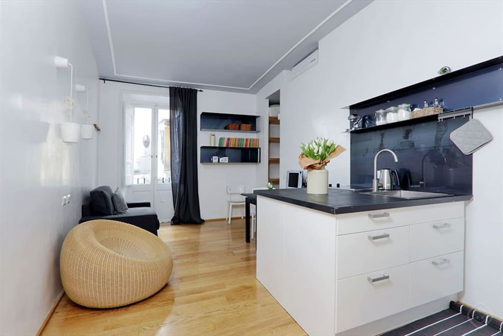 living room with sofa bed and kitchenette overview