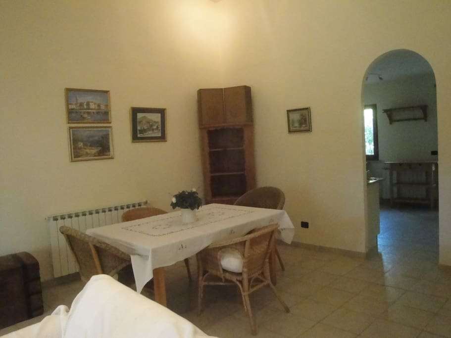 Large spacious dining/lounge area with wood burning stove