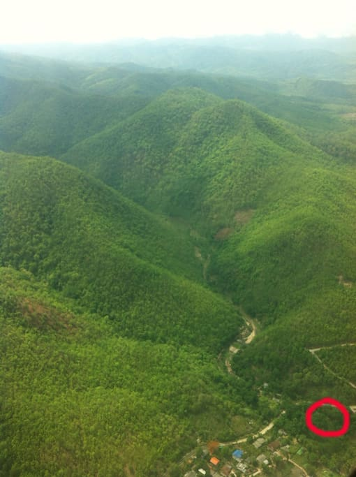 Location from the sky.. on the edge of a small village you have direct access to the mountains