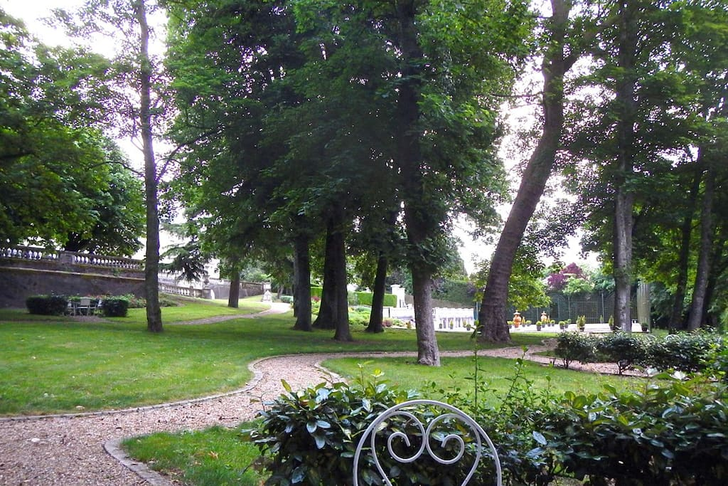 View of the enchanting park at the Chateau des Sablons.