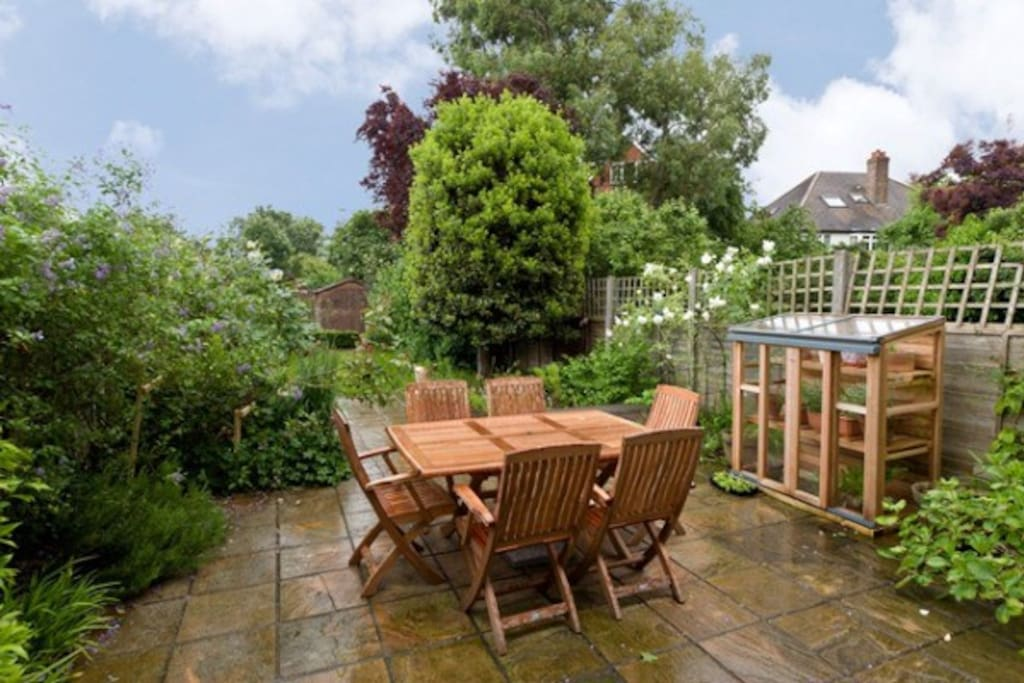 Attractive garden with different seating areas