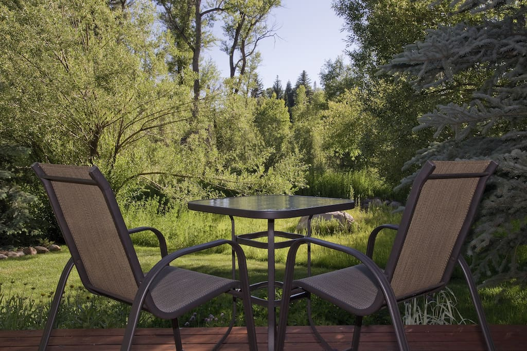 Our back patio is perfect for unwinding from the day with a glass of wine or warm cup of tea!