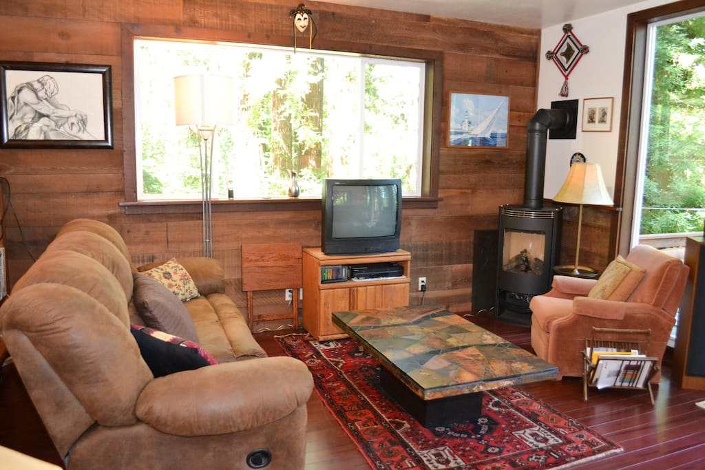 Open Plan Living Area with Gas Log Fireplace and Entertainment Center