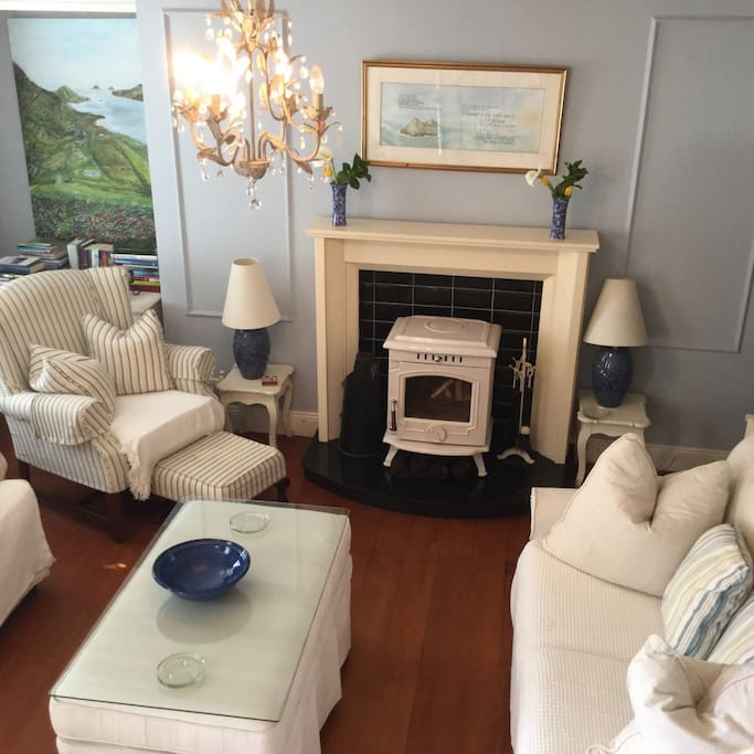 Living room with designer stove