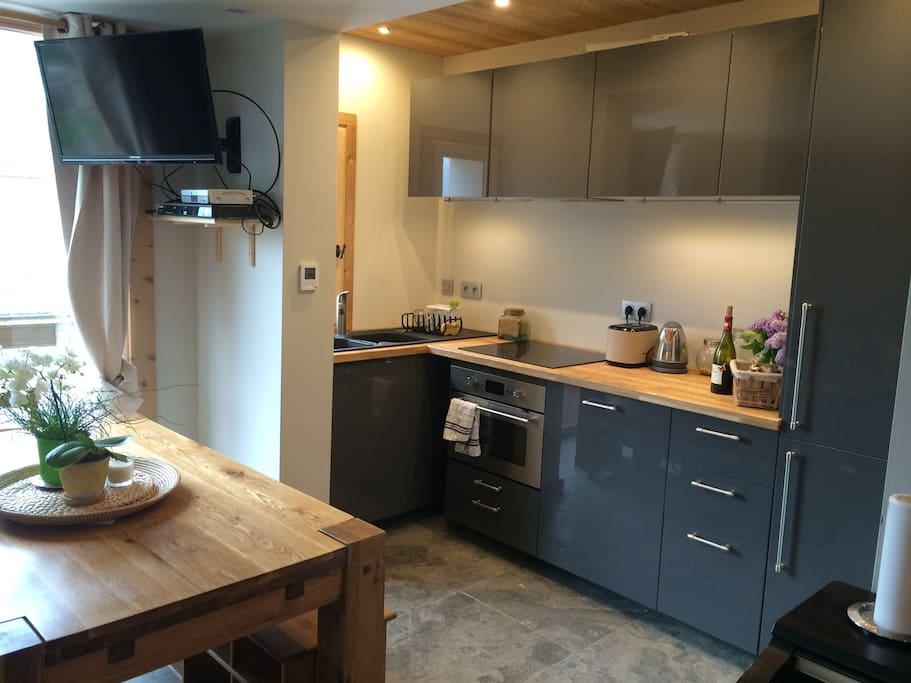 View of the kitchen: stone floor, wooden walls, quality and brand new equipment