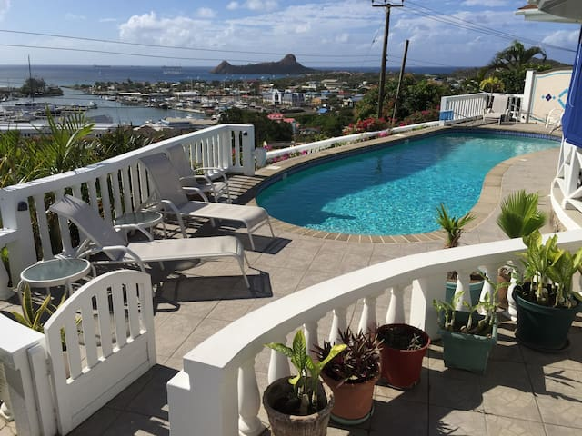 Rodney Bay Sea View Studio, with Jacuzzi and Pool.