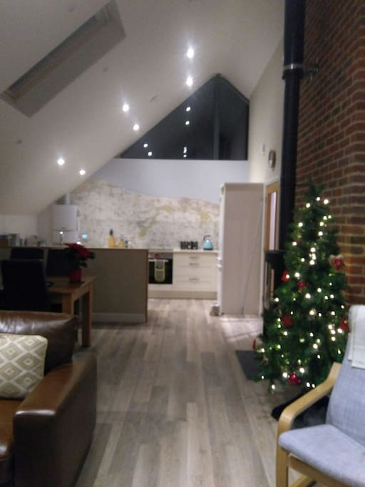 Christmas tree  up ready for festive visits