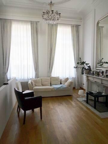 Luxury flat with garden in centre.