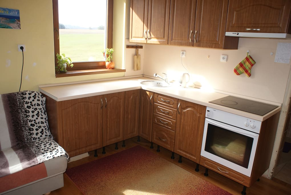 Kitchen with countryside view.