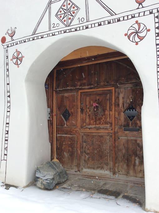Typical Engadine entrance door