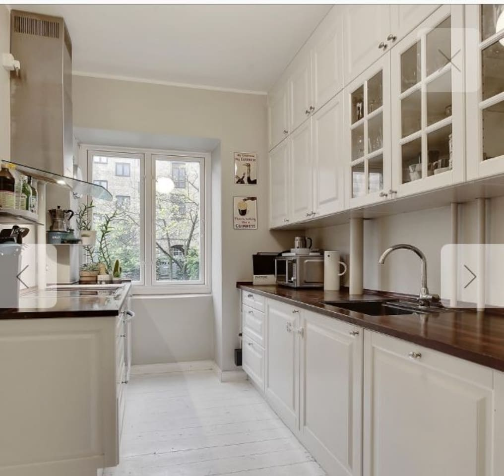 kitchen with fridge, freezer, dishwasher, oven, electric stove and fully equipped.