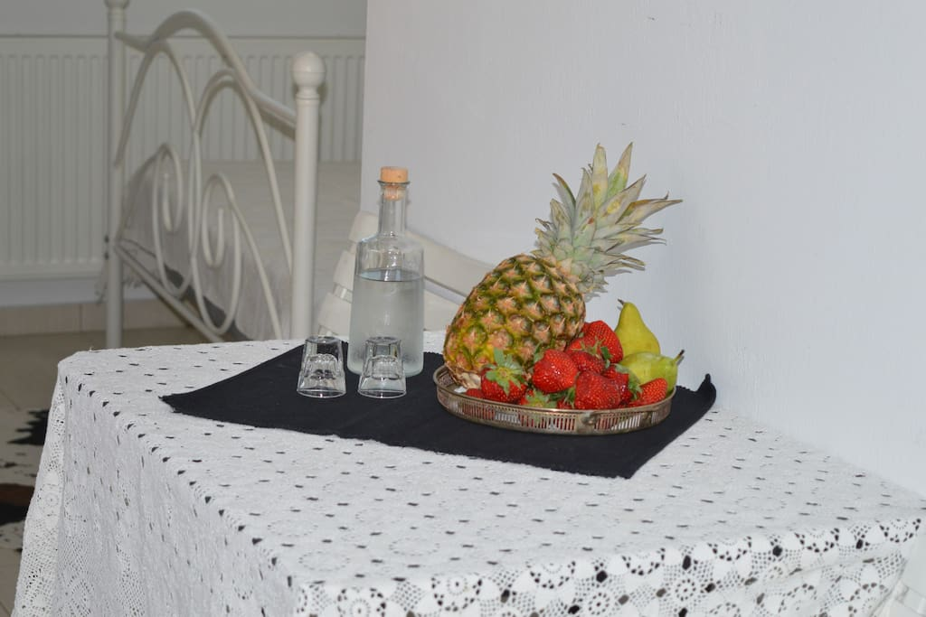 Wellcome with traditional drink ''tsikoudia'' or ''raki'' and  seasonal fruit!