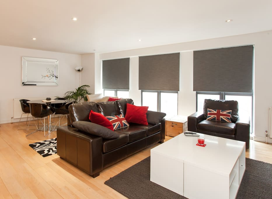 The wonderfully open and spacious living area is both stylish and extremely comfortable