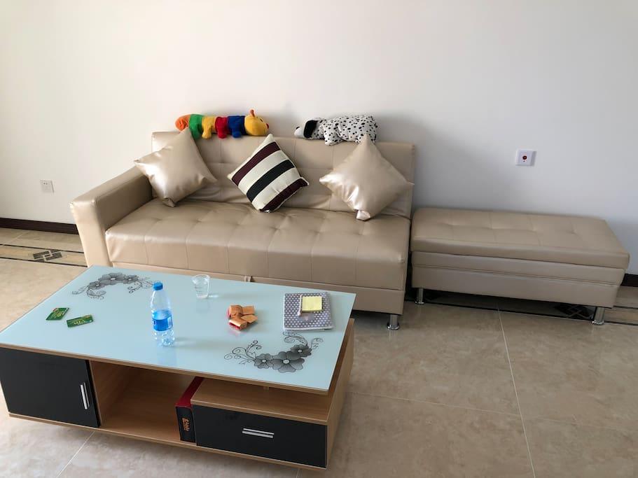 客厅一角,可当床使用的沙发,空间利用极大化