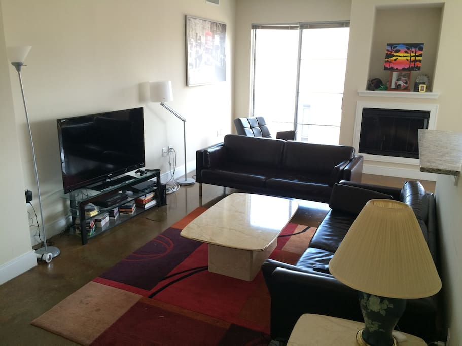 Modern, sleek living area with premium cable TV and free Wifi