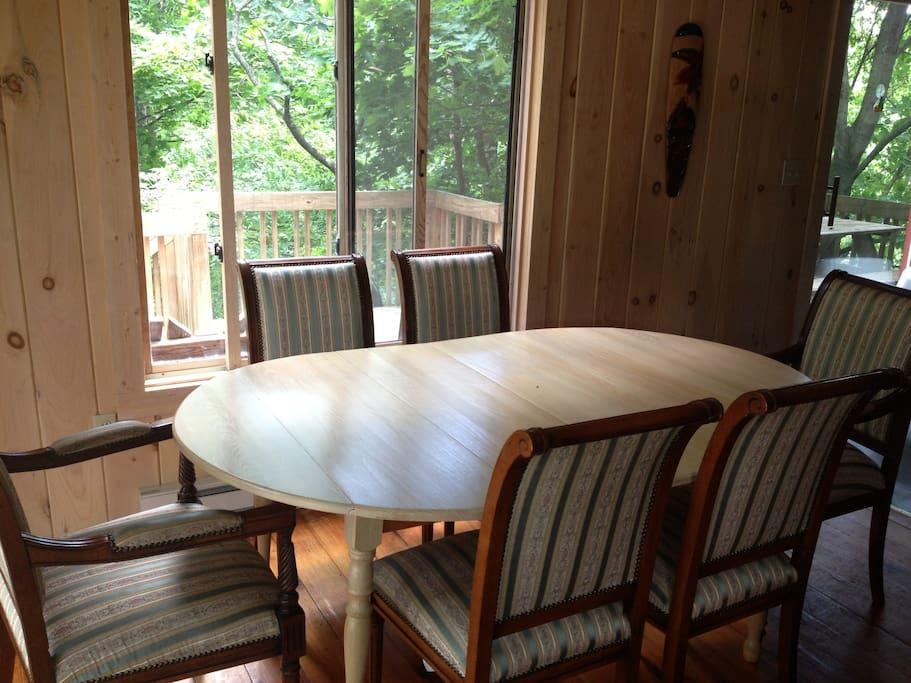 Dinner table inside.