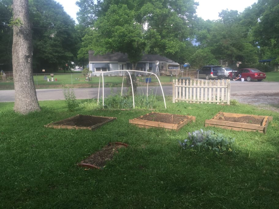 The front raised beds made from upcycled pallets.