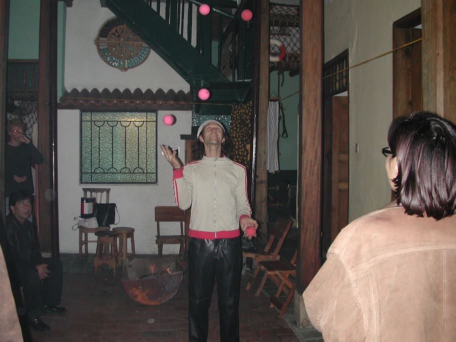 A juggler will visit from time to time when needed. This is the back patio.