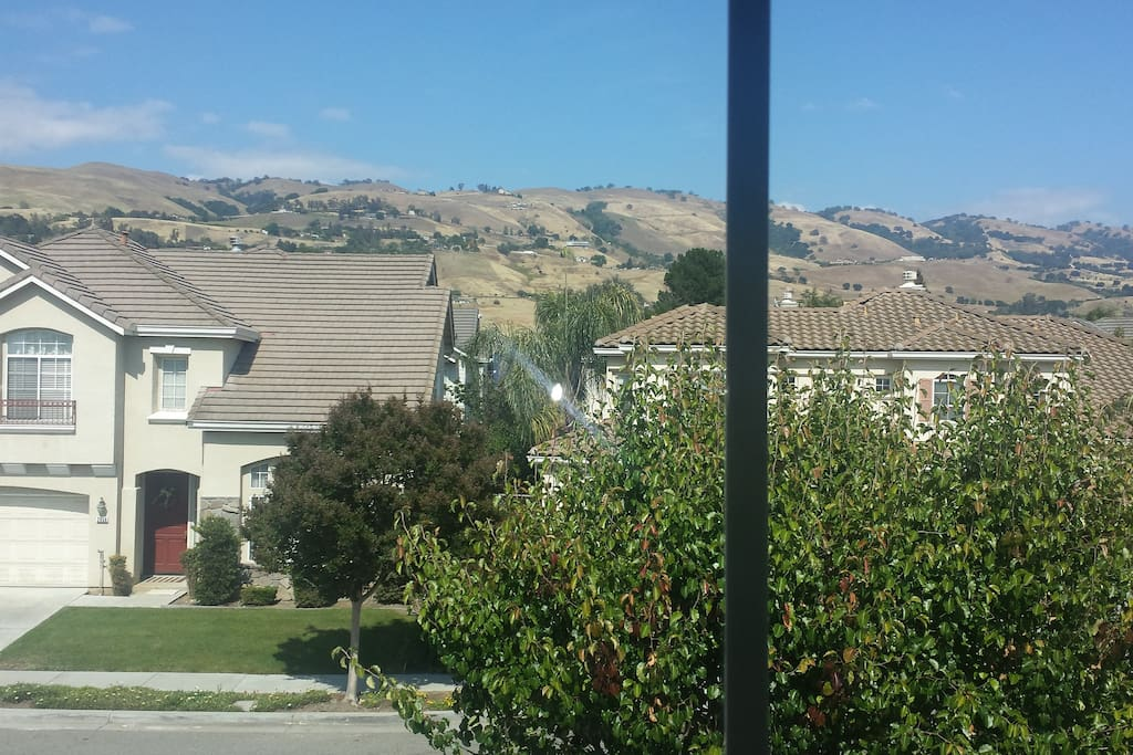 Great mountain view from the bedroom window.