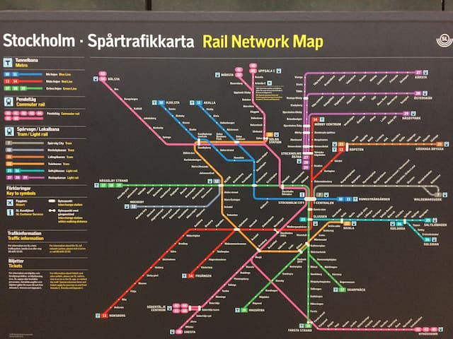 Rail Network Map to get easy from T-Central or Arlanda International Airport.