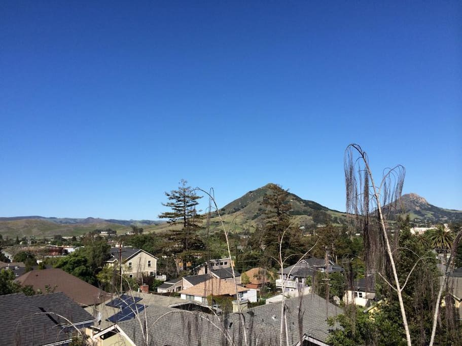 This photo was taken on a typical day from the upper deck of the house!  It's just PART of an amazing view (here of Cerro SLO or  Madonna Mtn, and Bishop's Peak)