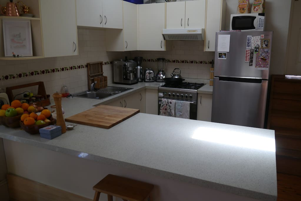 Kitchen includes large fridge, gas stove top, electric over, coffee machine, blender, herbs and spices