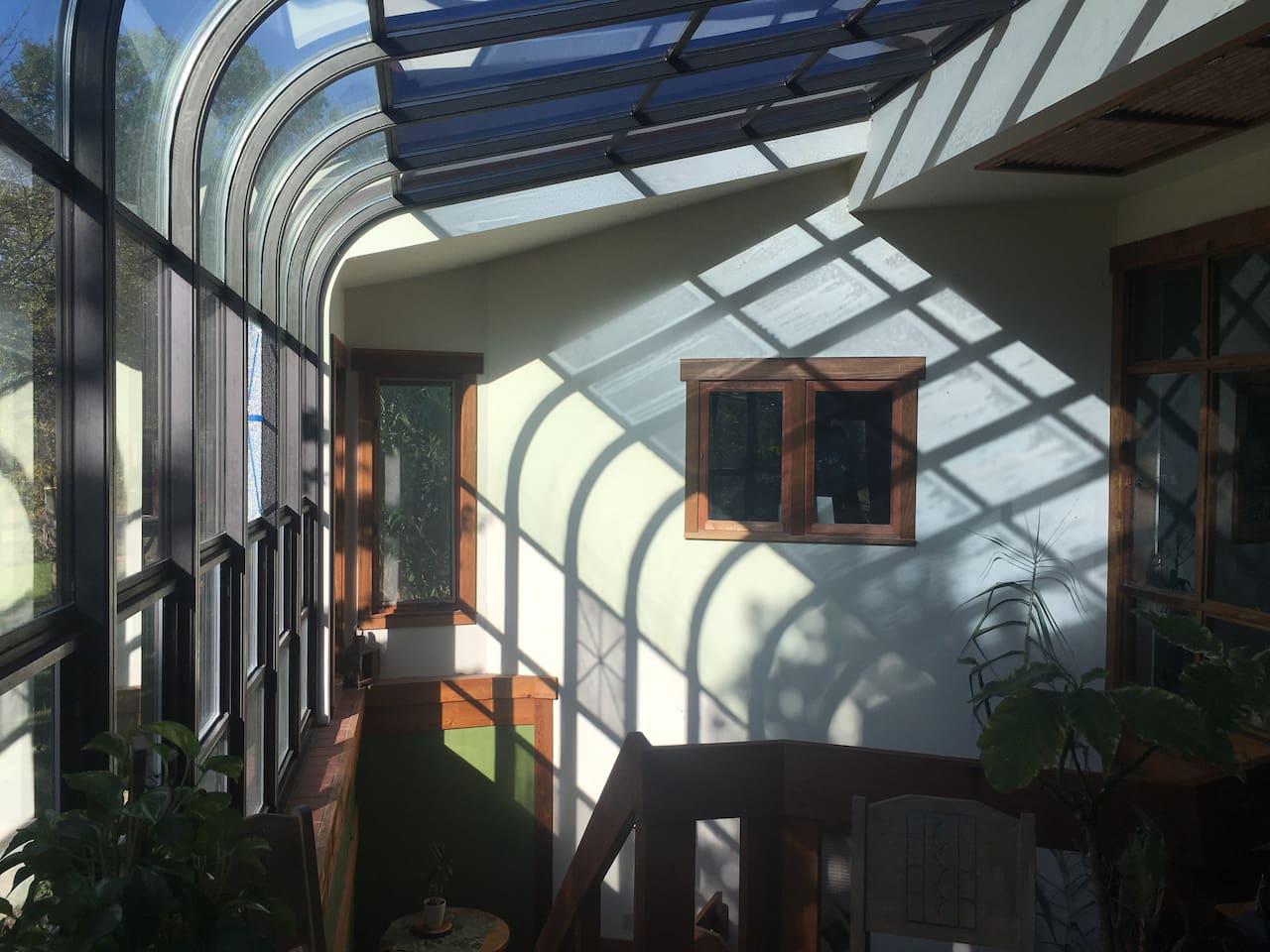 Sunny atrium entrance.