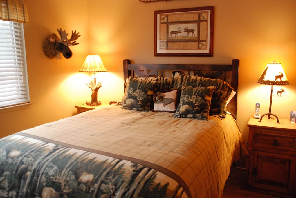 Moose Room - Queen Bed w/en suite bathroom. Located Downstairs.