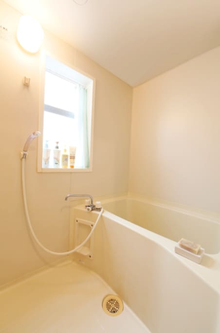Very clean and spacious bath space for a japanese apartment.
