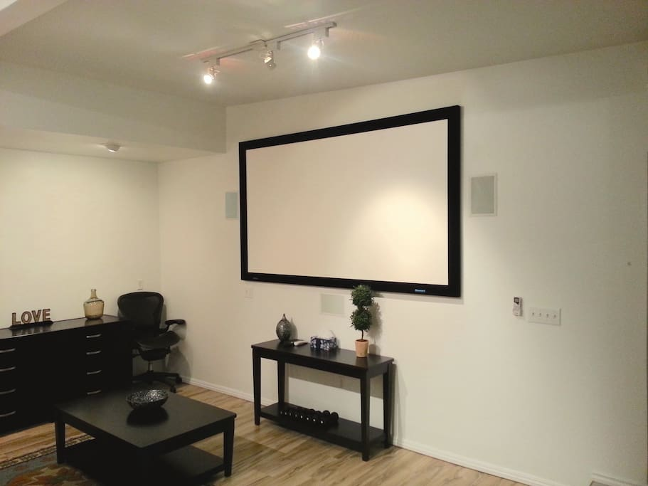 Cinema Screen with projector and surround sound.