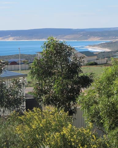 Large outdoor entertaining area with spectacular views of the bay