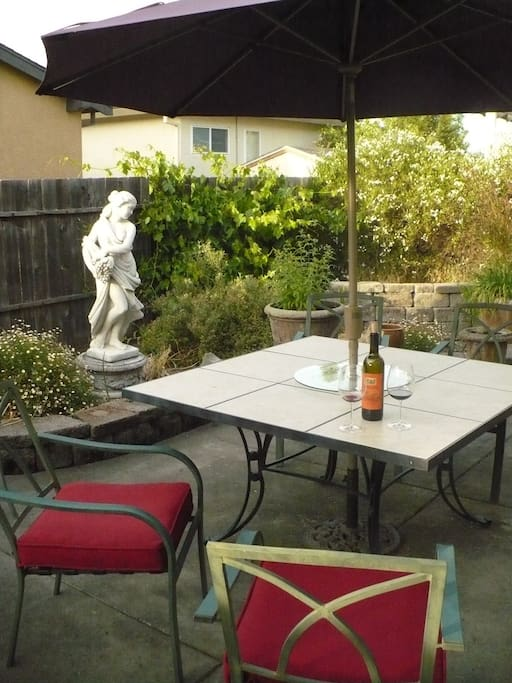 Enjoy a glass of Sonoma County wine on the patio...