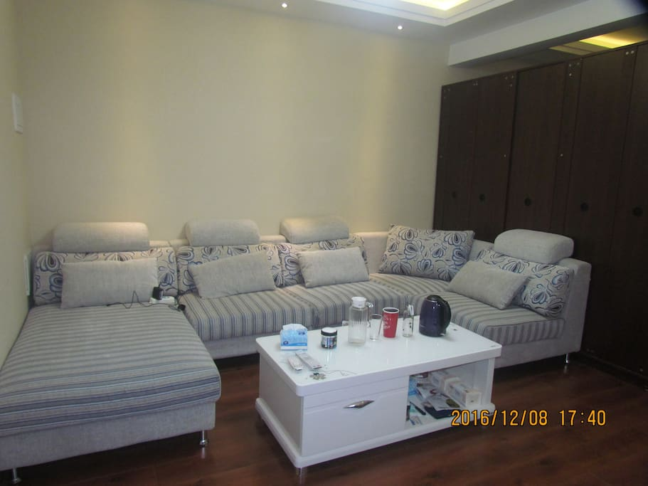 The sofa in the living  room 客厅里的沙发