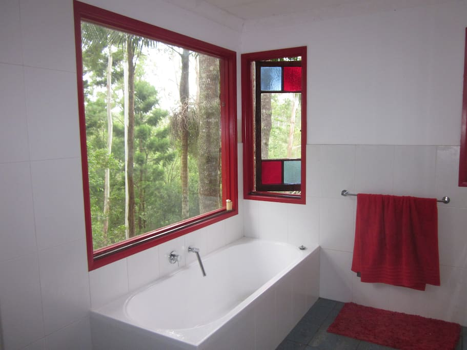 Awesome new, spacious bathroom looks straight out to trees and valley views