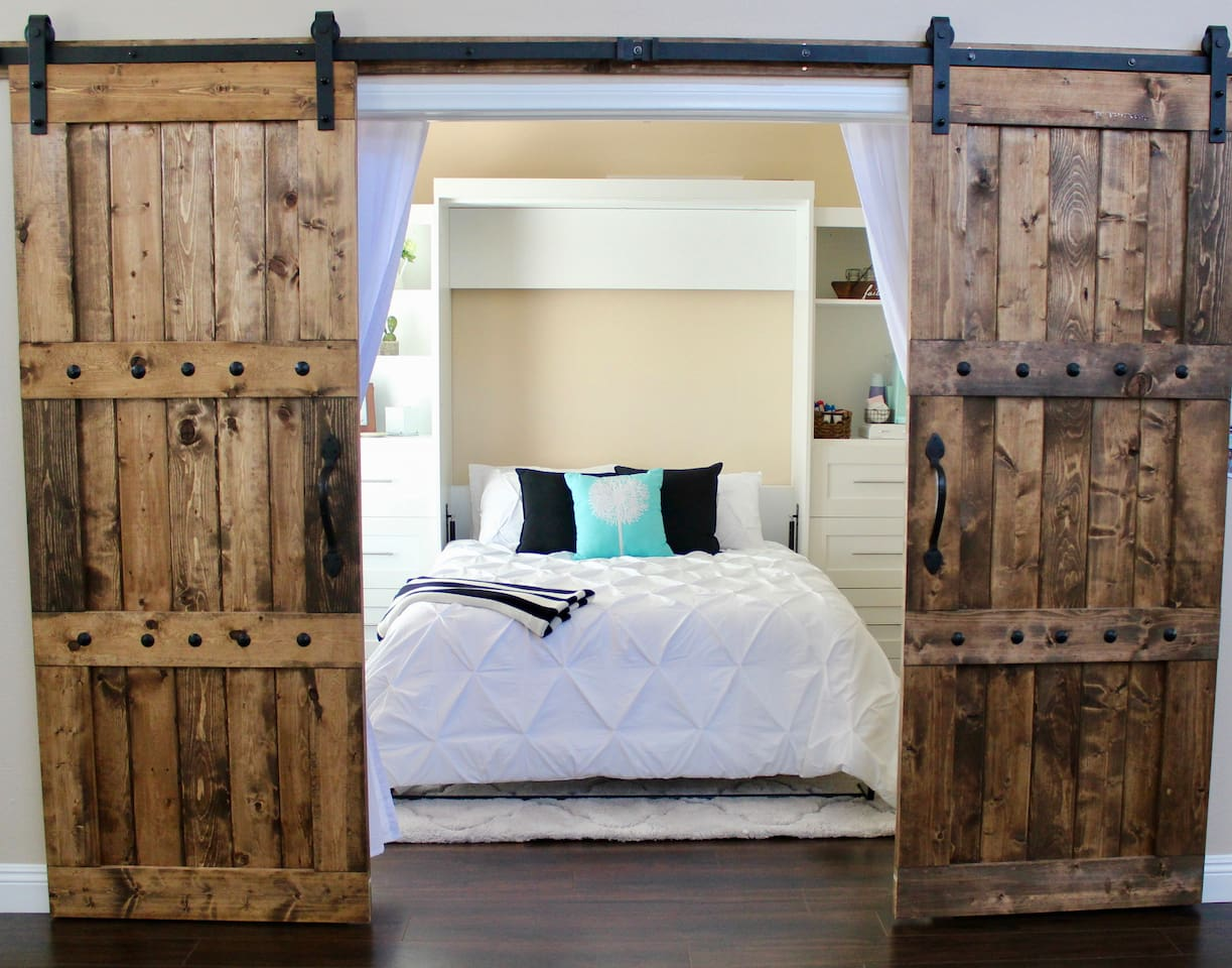 Brand new Murphy bed and Nectar memory foam mattress (Queen). Barn doors with a latch on the inside, plus curtains on the inside for even more privacy.