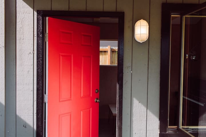 The bright door leads you inside.