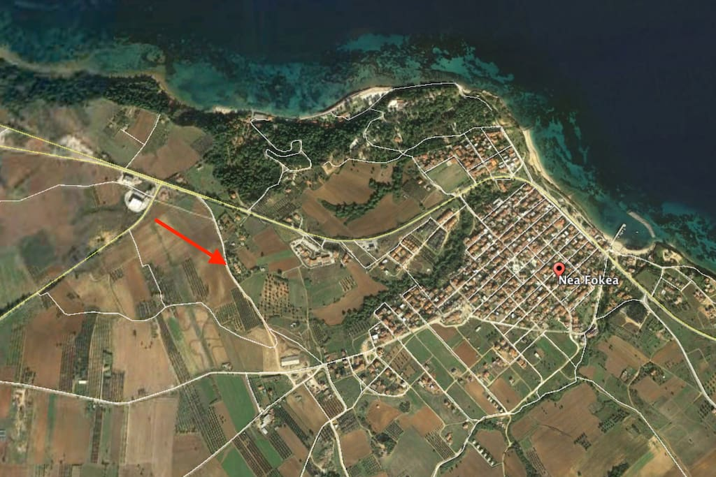 An aerial view of the property, near the village of New Fokea!