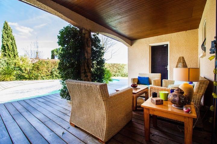 Chambre 15m2   piscine, terrasses