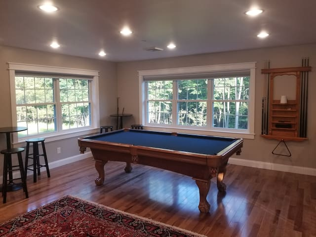 Common area includes pool table with a gorgeous view of the surrounding forest.