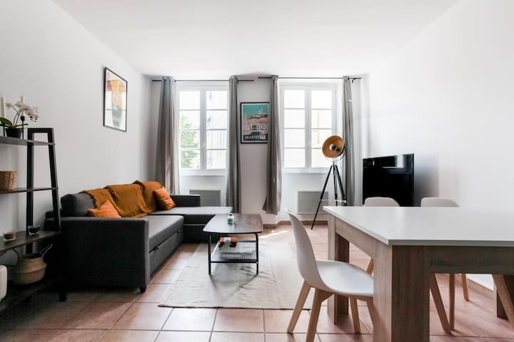 Bright living room with large windows