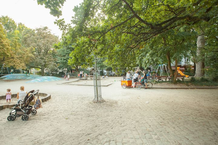 playground in front of apartment