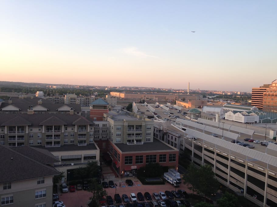 Restaurants, shopping, and the Pentagon City Fashion Mall, all in the back yard (this is a balcony photo).