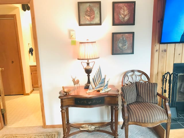Console table and extra chair