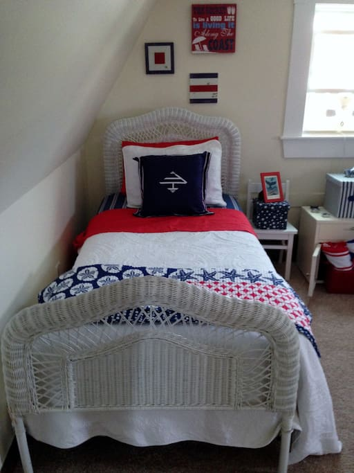 twin bed # 1, window fan, closet