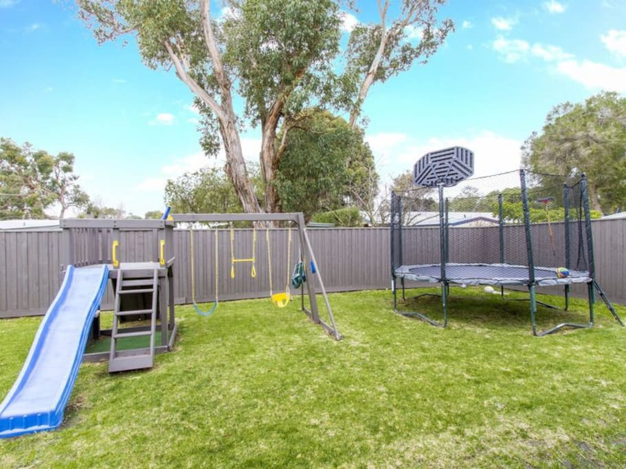 Playground & trampoline, perfect for kids.