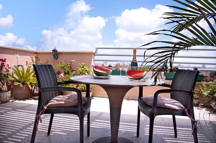 Charming 2 rooms penthouse near sea