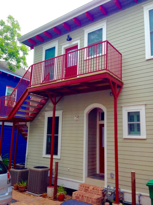 Private 2nd floor apartment entrance off sitting deck.  Parking space below deck for 1 car