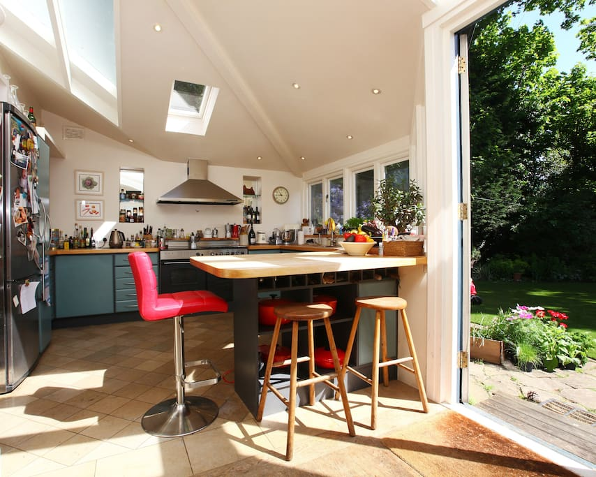 Kitchen bench and french windows