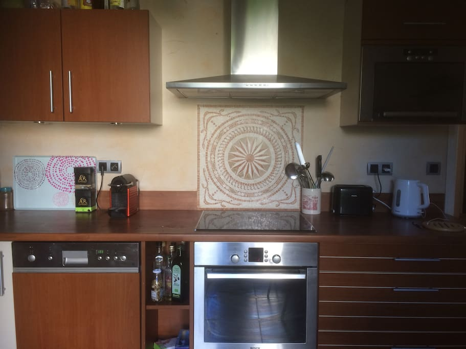 modern kitchen with oven, hot plates, micro wave, dishwasher etc...